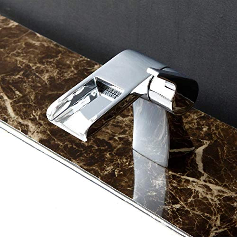 LIUSHUI Wasserfall Badezimmer Becken Wasserhahn Netto Blei Kupfer Chrom Poliert Moderne Armatur Heies Und Kaltes Mischwasser Einhand-Einloch-Waschbecken