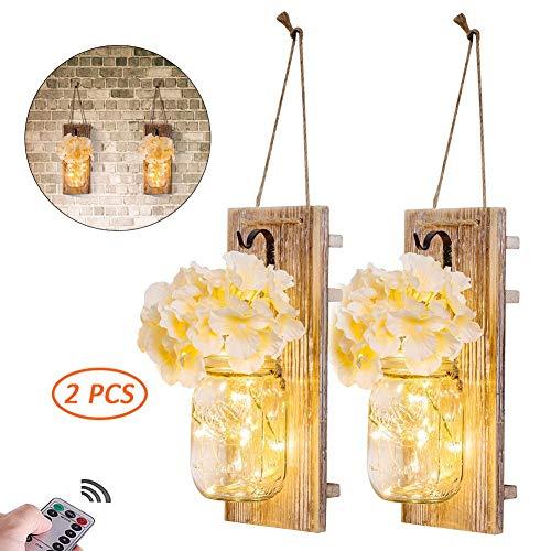kaikai 2 Stück Vintage Mason Jar Lichterketten mit LED Lichter und Blumen Fernbedienung Wandkerzenhalter Holz Dekoration, 6 Stunden Timer