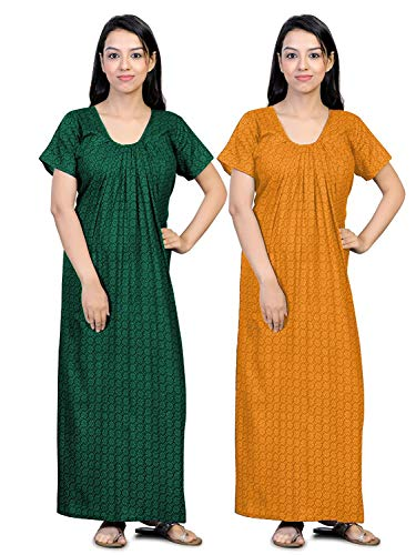 CIERGE Women's Cotton Printed Maxi Nighty (Pack of 2) (CIERGE-NEW-COMBO_Yellow...
