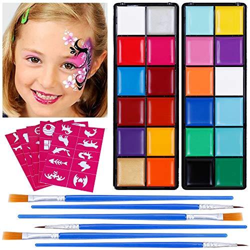 Lictin Kinderschminke Set Kinderschminke 23 Farben mit 5 Schablonen Schminkpalette Face Paint...