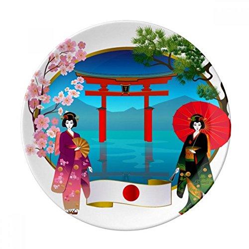 Kimono Meisje Japan Cultuur Paraplu Decoratieve Porselein Dessert Plate 8 inch Diner Thuis Gif