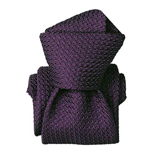 Segni et Disegni. Cravate grenadine de soie. Premium, Soie. Violet, Uni. Fabriqué en Italie.