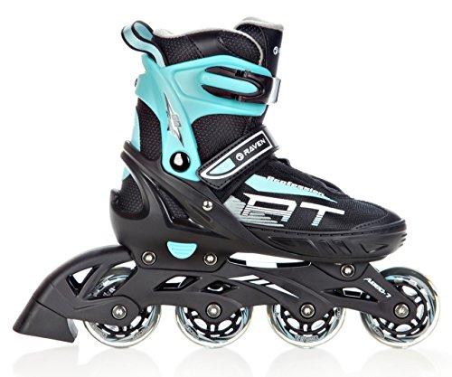 RAVEN Inline Skates Inliner Profession Black/Mint verstellbar (35-39(22,5cm-25cm))