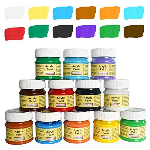 Daily ART Premium Craft Acrylfarben Set 12 x 50 ml Hoch-Deckend Farben zum Malen & Zeichnen
