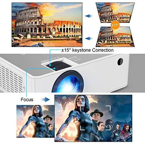 Mini Wifi Projector, FANGOR Native 1080P HD Video Projector, Updated 6500L Portable Bluetooth Projector Support TV Stick…