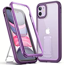 YOUMAKER [2021 Upgraded] iPhone 11 Case, with Kickstand Built-in Screen Protector Full Body Rugged Heavy Duty Protection Shockproof Clear Case Designed for iPhone 11 6.1 Inch - Purple