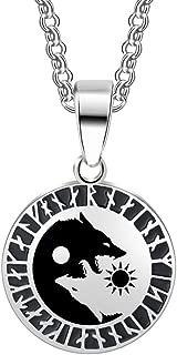 1pcs Yin Yang Wolf Sun Moon Stainless Steel Norse Viking Amulet Pendant Talisman