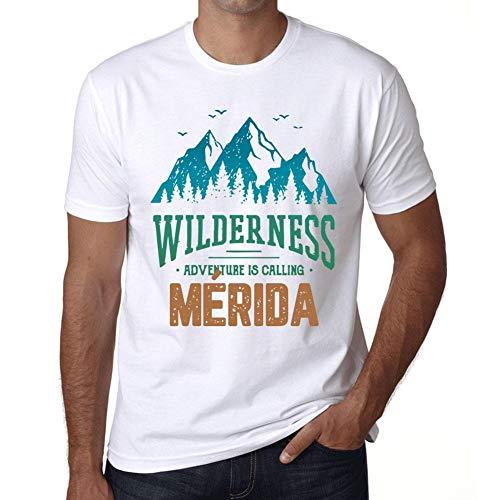 Hombre Camiseta Vintage T-Shirt Gráfico Wilderness MÉRIDA Blanco