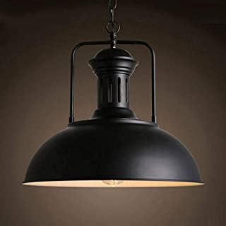 Vintage Nautical Metal Pendant Light - MKLOT Industrial Black Barn Ceiling Lighting Fixture 12.99 inches Wide Bowl Shape Farmhouse Hanging Lamp with Adjustable Chain for Kitchen Loft Island