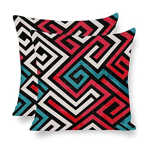 DKISEE Paquete de 2 fundas de almohada decorativas de laberinto de colores con efecto vintage de 45,7 x 45,7 cm, funda de almohada de lino de algodón - ofrqs4rmfuuq