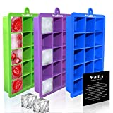 WALFOS Ice Cube Trays 3 Packs, Small Silicone Ice Cube Mold Maker