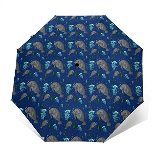 EW-OL Ombrelloni, ombrelli per Pioggia e Vento e Funzionamento con Una Sola Mano, lamantino subacqueo