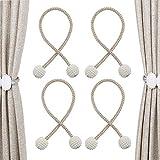 Clip de cortina con correa de cortina de perlas magnéticas, hebilla de cortina tejida con perlas para sala de estar, cortina de oficina en casa, correa de decoración de cortina, 2 pares