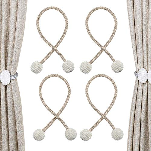 Clip per tenda con cinturino per tende con perle magnetiche, fibbia per tende intrecciata con perle per soggiorno, tenda per ufficio a casa, cinghia per decorazione per tende, 2 paia