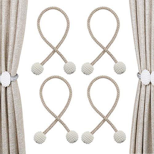 N/V Magnetischer Perlenvorhanggurt Vorhangclip, perlengewebte Vorhangschnalle für Wohnzimmer, Home-Office-Vorhang, Vorhangdekorationsgurt, 2 Paar