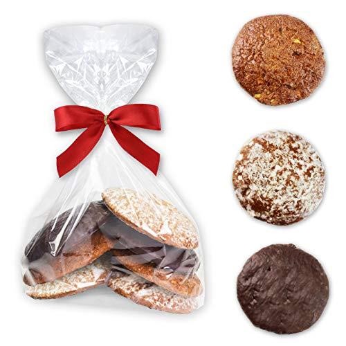 Oblaten Lebkuchen Bruch - 200g (7 Stk) - Gemischt - Natur Schoko Zuckerglasur - Feine Oblatenlebkuchen LEBKUCHEN WELT