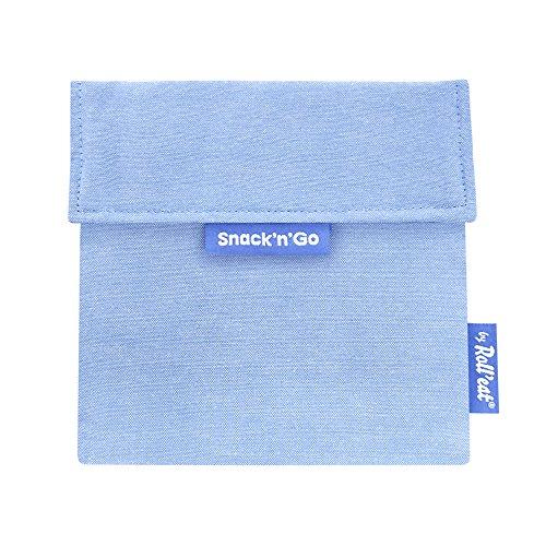 Roll'eat – Snack'n'Go Eco – Snackbeutel   wiederverwendbarer, ökologische Lunchbox, BPA frei, leicht zu reinigender Snackbag - Farbe Blau, 18 x 18cm