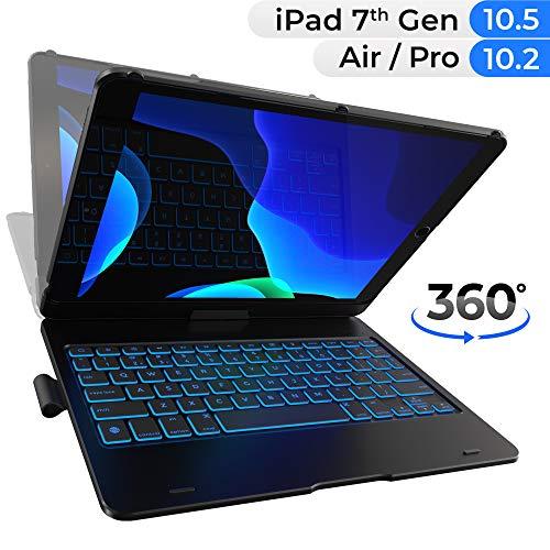 iPad Keyboard Case for iPad 10.2 2019, iPad Air 10.5 2019, iPad Pro 10.5 2017 - Backlit - 360 Rotatable - Wireless - iPad 7th Generation Case with Keyboard - iPad Air 3rd Generation - Tablet Case
