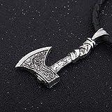 AMOZ Collares, Joyas, Utilizados para Collar con Colgante de Lobo Vikingo de Plata...
