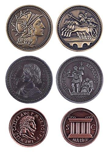 Battle-Merchant LARP-Münzen Römer Mittelalter Währung Elfengeld Fantasy Spielgeld (Mit braunem Beutel)