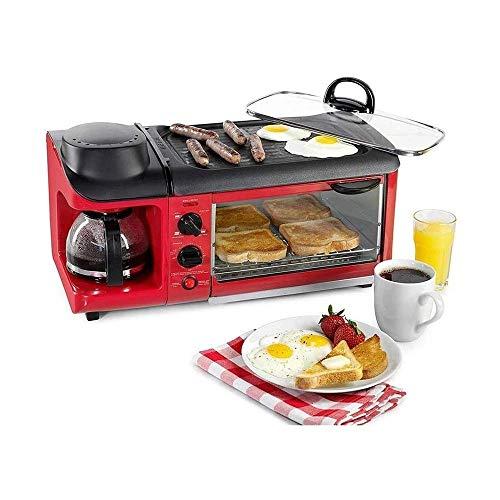 AJH Modern Simplicity 220V multifunción 3 en 1 máquina de Desayuno tostadora Horno sartén eléctrica cafetera Teppanyaki Maker