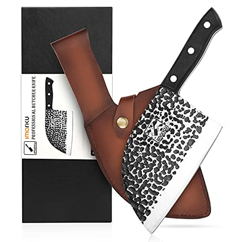 Butcher Knife, imarku 6.7 Inch Serbian Chefs Knife, Hand-Forged Full Tang Cleaver Knife with Leather...