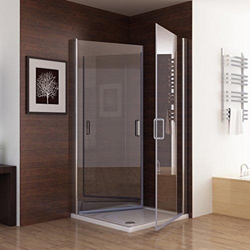 Duschkabine Dusche Duschwand 180° Schwingtür Eckig NANO Glas 75 x 75 x 195cm ESG