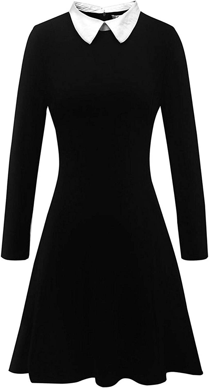Flygo Women's Casual Long Sleeve Peter Pan Collar Dress Outwear