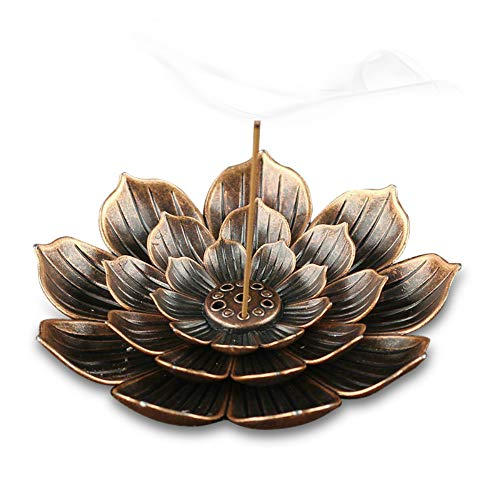 TMINCK Brass Incense Holder - Lotus Stick Incense Burner and Cone Incense Holder with Ash Catcher-4...