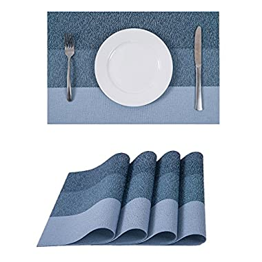 Set of 4 Placemats,Heat-resistant Placemats Stain Resistant Washable PVC Table Mats(Sky)