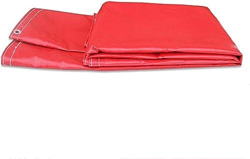 ATR Bache Rouge légère épaisseur 0.5mm 600g   m \u0026 sup2; Toile d'ombrage Multifonction imperméable Facile à Transporter (Couleur  Rouge, Taille  4  6m)
