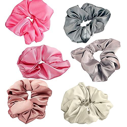 Kalagiri Silk Satin 12 piezas de cola de caballo para el cabello elástico para mujeres y niñas (paquete de 12 piezas)