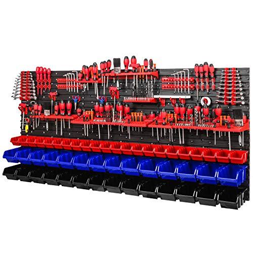 Werkstattregal Wandregal | 1728 x 780 mm | Lagersystem mit Werkzeughalterungen und Stapelboxen - Wandplatten Extra Starke Werkstattregal Schüttenregal (Rot/Blau/Schwarz)