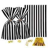 Clear Plastic Cellophane Treat Bags - Black White Stripes Party Favors Cello Bags Wedding Baby Shower Birthday Party Cookie Candy Treat Favors Bags, 100pc