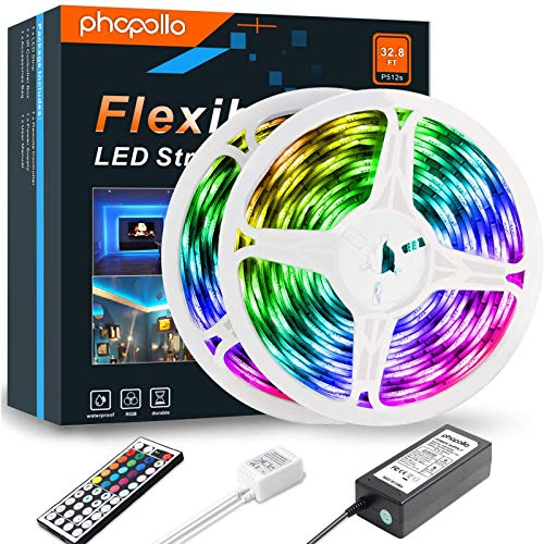 Led Strip Lights, Colour Changing Lighting Strips 10m Waterproof Led Strip Lights with Remote for Home Bedroom Outdoor Kitchen,Bright DIY Decoration 2pcs X 5m