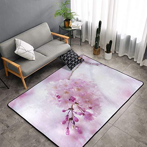 N/A Alfombra de flores de cerezo rosa con flores primaverales para sala de estar, mullida y suave, adecuada como alfombra de dormitorio, decoración del hogar, alfombra para niños, 60 x 91 cm
