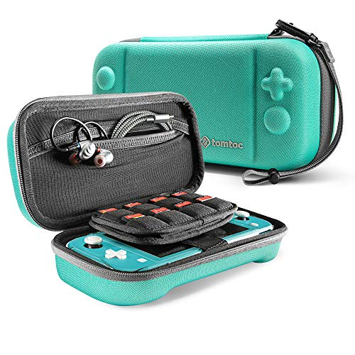 tomtoc Nintendo Switch Lite対応 ケース、 任天堂 スイッチ ライト キャリングケース 大容量 収納ケース、 ゲームカード24枚 周辺小物収納、 全面保護 耐衝撃、 ターコイズ
