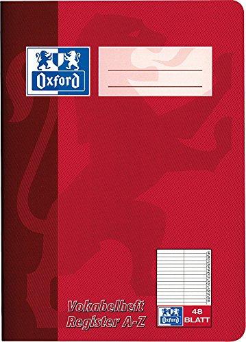 Oxford 384504855/100302812 Vokabelheft, A5, 48 Blatt, rot, grün