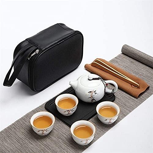 Tea Table Teapot Sets,Portable Travel Kungfu Tea Set Handmade Chinese, Porcelain Teapot Travel Kung Fu Tea Set Portable White Porcelain Jade Porcelain, High-End Tea Set (Color : A)