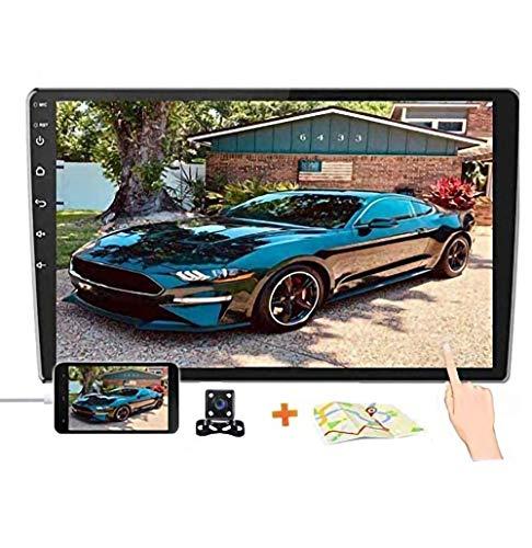 10,1 Zoll 2,5 D HD Doppel-Din-Autoradioempfänger, Android 8,1 Touchscreen MP5 Multimedia, Unterstützung GPS-Navigation Bluetooth FM-Radio + 4 LED-Leuchten Rückfahrkamera & Dual Mirror Link & Subwoofer