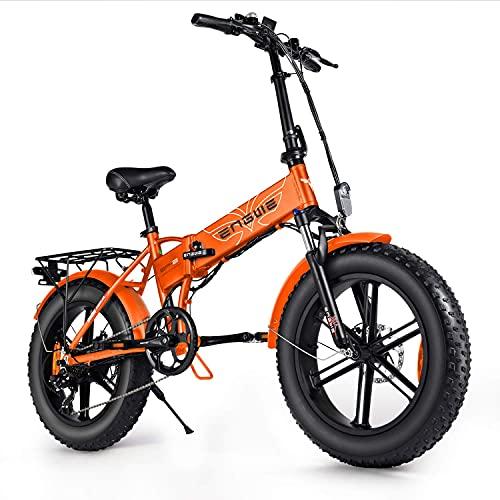 Engwe EP-2, Beach Fat Tire, bicicletta elettrica pieghevole, ruote da 20 pollici con supporto sterzo, motore 48 V 500 W e cambio a 7 marce