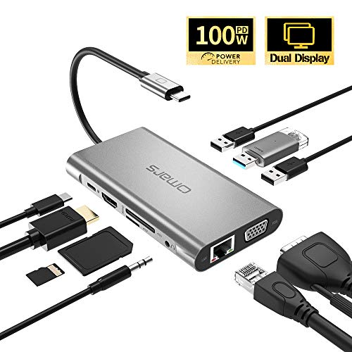 Omars 10-in-1 USB C Hub Adapter mit Type C Power Delivery, 4K HDMI, VGA, RJ45 Gigabit Ethernet LAN, 3 * USB 3.0, 3,5 mm AUX Audio/Mikrofon, SD/TF Slot für MacBook Pro 2017/2016 Huawei USB-C-Geräte