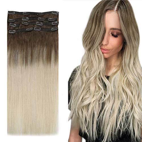 YoungSee 16 Pouces Clips Extension Cheveux Blond Ombre Balayage Brun Cendré Clair #8A Mixte Blond Platine #60 Double Trame Clips Cheveux Extension Naturel 7pcs/100g