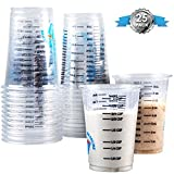 Clever Measure Disposable Mixing Cups Pack of 25 8oz Graduated Clear Plastic Measuring Cups Multipurpose Mixing Resin Epoxy Paint Stain Art Supplies Cooking & Baking Calibrated Measurements in ML & OZ