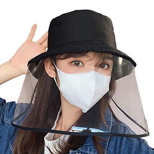 安全保護帽子 つば広 フェイスガード 防風キャップ ハット 飛沫防止 釣り帽子 漁師帽 防ウイルス 防塵 キャップ ファイスカバー UVカット
