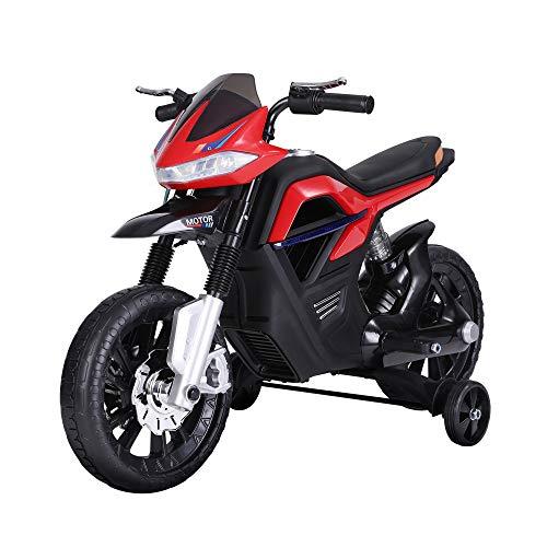 homcom Moto Cross Elettrica per Bambini da 6V Realistica e Sicura con Fari e Musica Colore Rosso e Nero