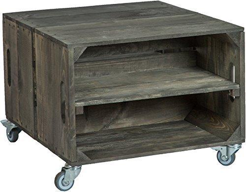 "2er mesa en cajas de fruta ""Rey"" Con Ruedas masa 56x 49x 38cm mesa baja cuadro sofá mesa caja de vino caja de madera estante caja de fruta altisch de lluvia mesa de salón"