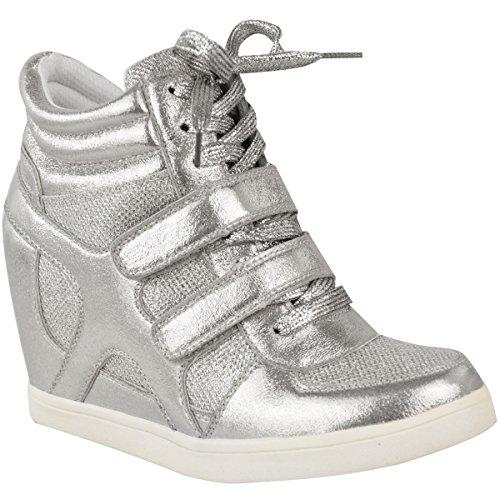 Heelberry - Damen High-Top-Sneaker mit Keilabsatz - Silberfarben Metallic - EUR 38