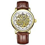 QZPM Herren Aushöhlen Mechanische Armbanduhr Lederband Multifunktionen Wasserdicht Leuchtend Analog Chronographen Lässige Geschäftsuhr,Braun