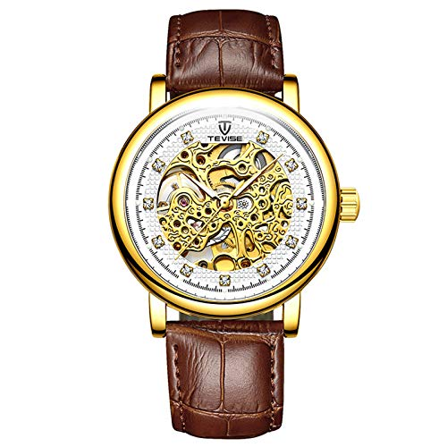 QZPM Business Hombres Automático Mecánico Relojes Analogico Luminoso Hueca De Acero Inoxidable Multifunción Impermeable Casual Cuero Relojes,Gold White